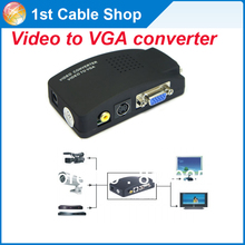S-video composite RCA AV to VGA converter with USB power supply for TV to PC converter(VGA cable is not included)
