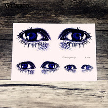 Waterproof tattoo custom color bright blue eyes personality tattoo tattoo stickers manufacturers selling SC2976 WU&MO(China)