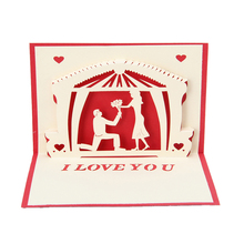 2017 Love Greeting 3D Card Pop Up Paper Cut Postcard Birthday Wedding Valentines Gift    MAR23_30