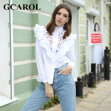 Buy GCAROL Euro Style Embroiderd Floral Ruffles Women Blouse Standard Collar High Street Elegant Vintage Female Shirt 4 Season for $11.98 in AliExpress store