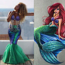 new Sexy green rose red Mermaid adult princess Womens Halloween cosplay Costume Fancy club Party Sequins Long Tail Skirt