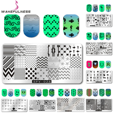 1Pcs 6.5*12.5cm Rectangle Nail Stamping Plates Template Beauty Image Nail Art Stamp Plate Manicure Stencils Tool(China)