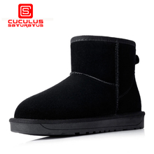 Cuculus Quality Cow Suede Women Snow Boots Winter Boots Lace Up Ankle Casual Brand Winter Shoes Women's Boots Plush 5854