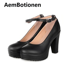 AemBotionen New arrival pumps woman genuine leather shoes office lady high heeled shoes round toe platform shoe for women shoes