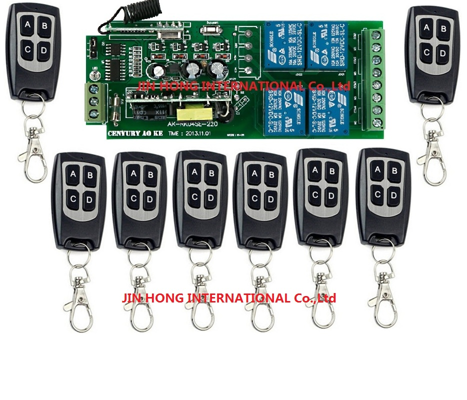85v~260V 110V~ 220V  4CH RF Wireless Remote Control Relay Switch Security System Garage Doors Gate Electric Doors 9pcs/lot<br>