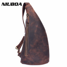 NIUBOA Men Chest Pack Single Shoulder Back Bag Genuinel Leather Travel Crossbody Bags - Official Store store