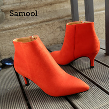 SAMOOL New Shoes Women Boots High Heels Nice Ankle Boots Pointed Toe Zipper Martin Boots Zip Ladies Shoes Orange Casual Boots(China)