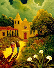 Handmade Abstract Building Hang on the Wall Fine Artwork Canvas Picture Decorative Hand Paint Couple Walk to Church Oil Painting