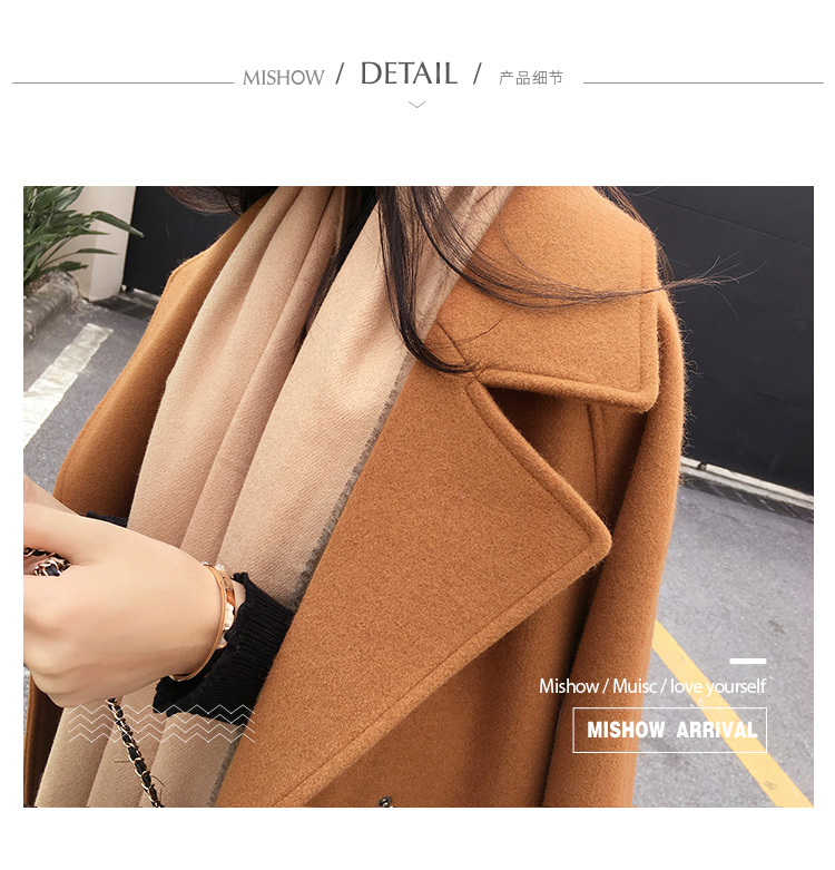 Mishow 19 autumn and winter woolen coat female Mid-Long New Korean temperament women's popular woolen coat MX17D9636 23