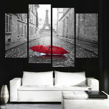 Unframed Wall Pictures For Living Room Canvas Painting Fashion Pairs Street Beautiful Red Umbrella Modular Picture Cuadros Decor