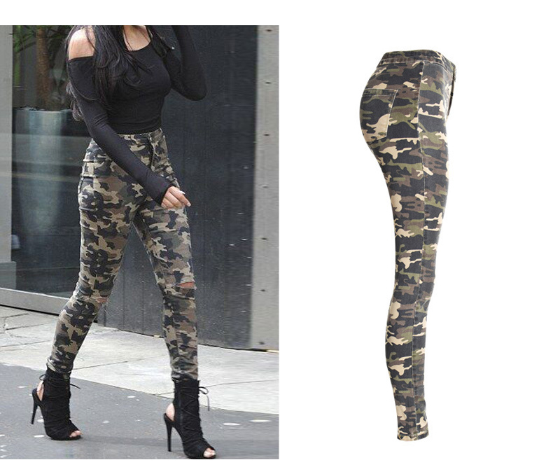 2017 New Brand Women Fitness Cloth Camouflage High Waist Elastic Stretch Holes Jeans Pencil Pants Street Style Denim Trousers (6)