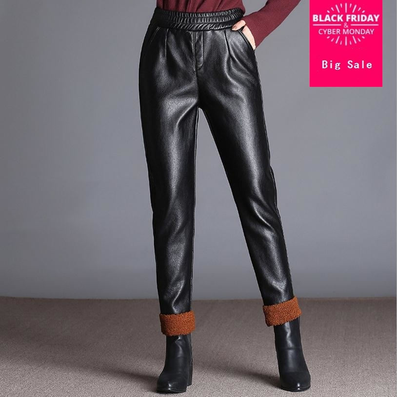 Fashion Brand with velvet warm pu leather pants 2017 autumn Women's High package hip Quality Slim Wide Leg Pants wj1644