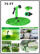 Garden Watering Hose Reels 75FT with Water Spray Gun Green Blue Expandable Magic X Hose 22.5M Garden Hose for Watering(China)