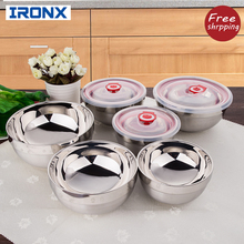 IRONX food noodles rice bowl 304 Stainless steel metal soup bowl double layer hot insulation for anti slippery bowls 1PCS(China)