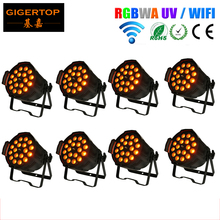 Freeshipping 8 Pack 18*18W LED Par 64 Can Zoom Function Church Lighting Stage Lighting Wedding Uplighting Wireless Wash Light