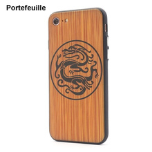 Portefeuille For iPhone 7 Wood Pattern Case Dragon Wolf Silicone Frame Hard PC Back Cover For iPhone 8 Plus 6 6S 5 5S SE Luxury(China)