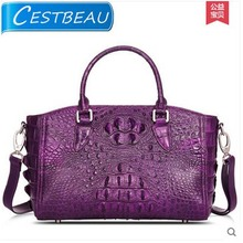 True lady crocodile handbag shoulder inclined shoulder bag bag purple European and American fashion killer