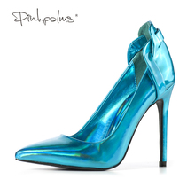 Pink Palms spring Autumn Newest Shoes High heels Pointed Toe Pumps Shiny Blue Gold Basic Shoes Women Shoes in Women's Pumps(China)
