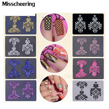 Hot 108pcs/sheet 8colors optional 3d Flowers Nail Art Stickers Adhesive Metallic UV Gel Polish Nail Tips Decals Decorations(China)