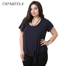 Buy DOMODA 2017 Big Size Fashion Women Clothing Sexy Casual Solid Basic T-shirt O-Neck Tied Loose Plus Size T-shirt 4XL 5XL 6XL for $16.98 in AliExpress store