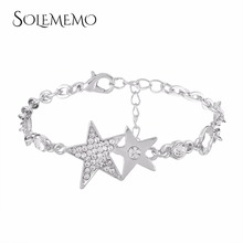 SOLEMEMO Rhinestone Bracelet Bangles Link Chain Silver Star Bracelet Charm Bracelet for Women Female Fashion Jewelry B0731(China)