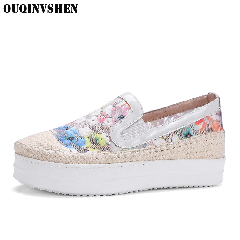 OUQINVSHEN Net Surface Women Flats Fashion Women Platform Shoes Embroider Casual Women Flat Shoes Large size Flower Ladies Shoes<br>
