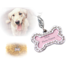 New Pet Tag Set Dog Bones Shaped Name Card Bone Lost Dog Id Address Name Label Tag Pet Dog Pendant 2pcs/lot