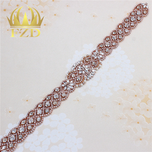 Sew on Rose Gold Beaded Crystal Applique  Rhinestones Decorative Trim for Bridal Dress Sash or Headbands