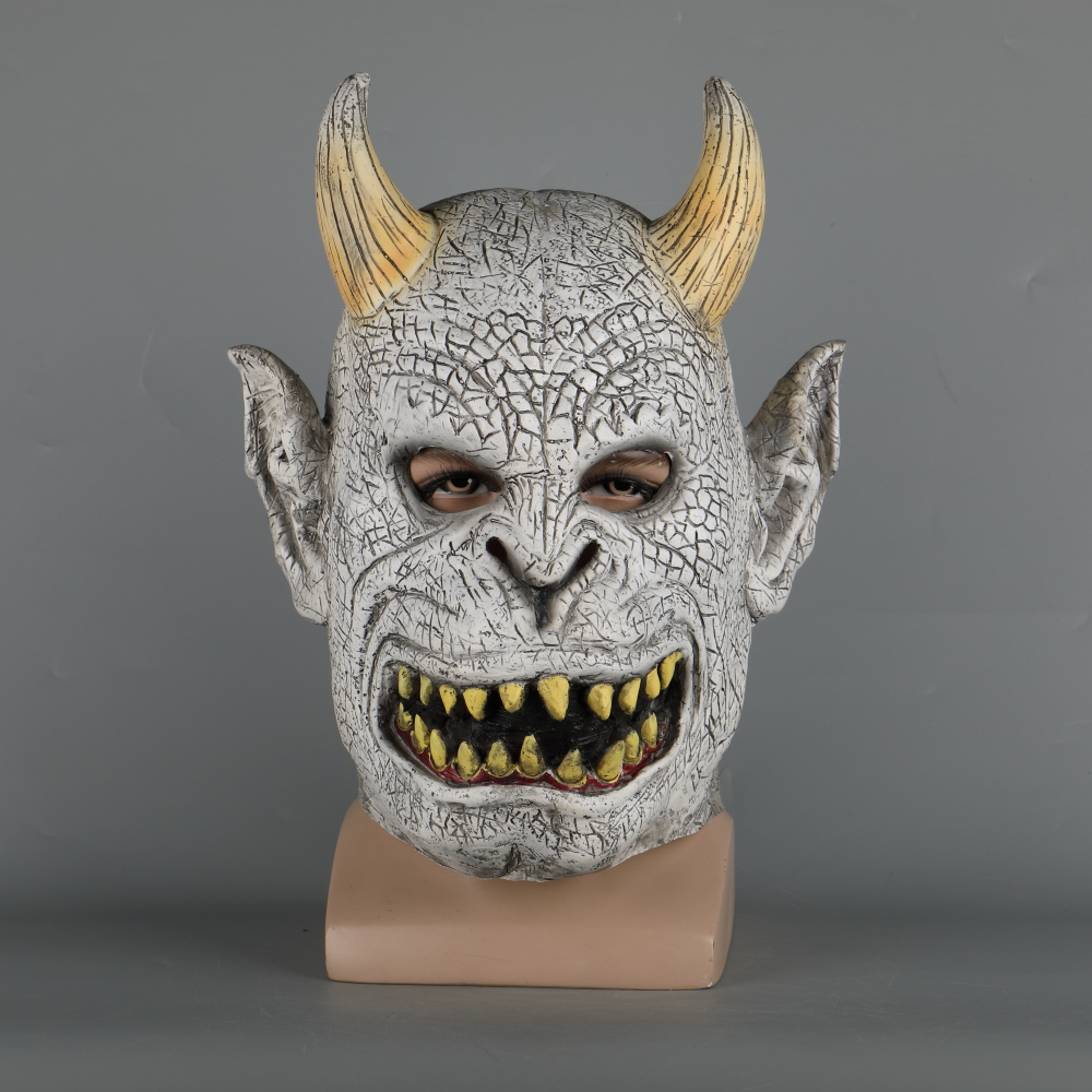 Scary Demon Devil Horror Halloween Latex Mask With Horn Cosplay Prop Masquerade Mask Adult (3)