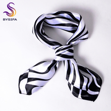 [BYSIFA] Black White Striped Women Small Square Scarf Spring Autumn Professional Silk Scarf Brand Magic Scarves 52*52cm
