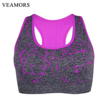 VEAMORS Quick-Drying Yoga Shirts, Women Wirefree Push Up Padded Sports Bra, Seamless Stretch Vest Yoga Fitness Running Tops