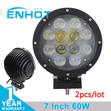 ENHOT 2pcs 7'' 60W LED Work Light With E Mark Certificate Cree Chip Spot combo LED Driving Head Lamp Round Fog Lamp for Off Road(China)