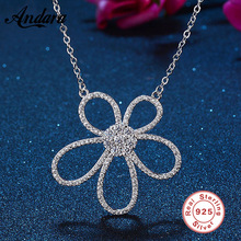 100% 925 Sterling Silver Sparkling Flower Long Pendant Necklace, Clear CZ Woman Pendants & Necklaces Jewelry
