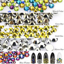 500pcs Mixed Colorful Nail Rhinestones SS5-16 Flatback 3D Glass Stone Decorations Nail Art Flame Design Charm Crystal Tips CH399(China)