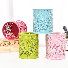 Kawaii Hollow Metal Pencil Pen Holder Desk Organizer Storage Zakka Office Accessories School supplies porta caneta para