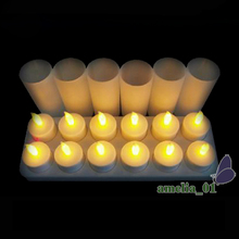 12pcs/set LED Rechargeable Flameless Candle Night Tea Light Candle For Xmas Party Electronic Candle Lamps home Small Night Light