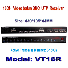 "16 Channel Active UTP Video Receiver 1800M High-Density 19"", 1U Rack Mount , Active Video Balun for CCTV,BNC to UTP RJ45"