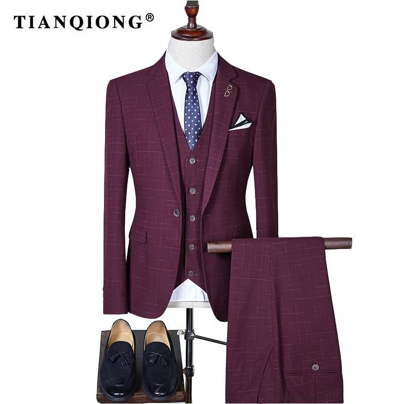 Compre Tian Qiong Hombres Plaid Slim Fit Trajes De Boda Para Hombres ...