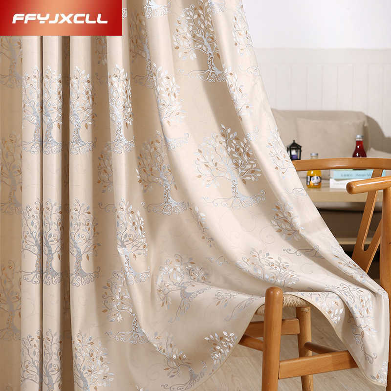 1 piece 2017 New Curtains for Windows Drapes Modern Elegant Noble Jacquard Blackout Curtain for Living room Bedroom