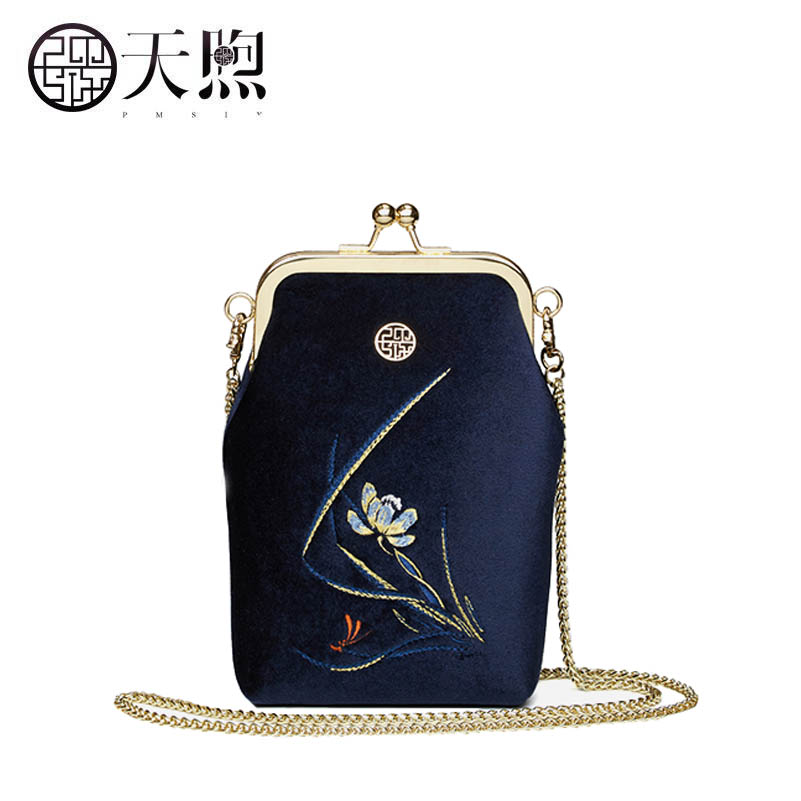 New womenChain Messenger bag packet velvet embroidery embroidery phone bag luxury tote handbags designer women  Crossbody bags<br>