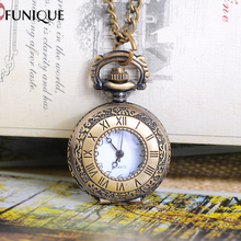 FUNIQUE Link Chain Necklace Watches Retro Bronze Tone Roman Numberals Carved Quartz Pocket Watch For Women Men Gifts 86cm