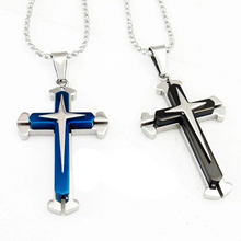 Blue Black Silver Stainless Steel Men's Cross Pendant Necklace Chain Jewelry Accessories