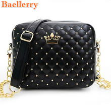 Baellerry 2017 Women Bag Fashion Women Messenger Bag Chain Rivets Shoulder Bag High Quality PU Leather Crossbody Lady Crown Bags(China)