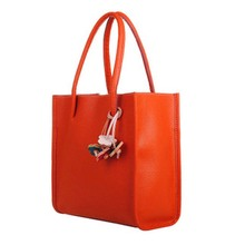 Fashion Girls Handbags Trendy Leather Shoulder Bag Candy Color Flowers Totes Orange(China)