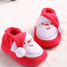 Cute Christmas Unisex Warm Baby Slippers Newborn First Walkers Prewalker Shoes Santa Claus Bebe Booties Winter Baby Shoes