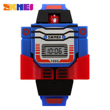 2017 Fashion LED Digit Kids Watch Sports Cartoon Children Watches Cute Relogio Relojes Robot Transformation Toys Boys Wristwatch(China)