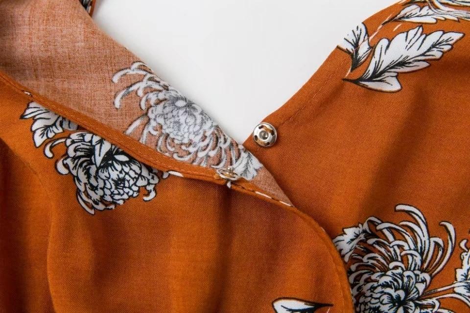 Sukibandra New Summer Orange Floral Print Casual Playsuit Romper Women Backless V Neck Boho Bohemian Long Sleeve Jumpsuit Short