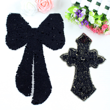 Black cross sequins patches vintage embroidered applique DIY T-shirt decoration sew on patch clothing accessories