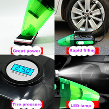 120W Portable Inflatable Pump+ Car Vacuum Cleaner Wet And Dry Dual +digital display Tire pressure +LED lamp for home car(China)