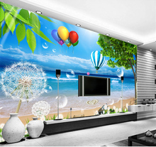 beibehang Mediterranean sea blue 3d wall paper living room sofa TV wall paper photo wallpaper murals nature papel de parede 3d(China)